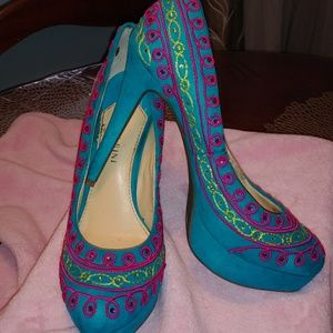 Gianni Bini Colorful Pink, Lime and Blue Shoes